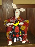 a hand-decorated tengu hanging around with a rabbit at a local eatery (not in show)