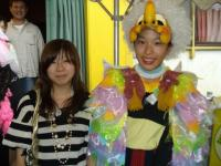 "Costume Design Contest Winner Rika Nomi with Nana Ikeda, who played the character ""Te"" (tay) in the costume Rika designed."