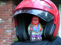 Glitter Tengu sheltering in helmet!